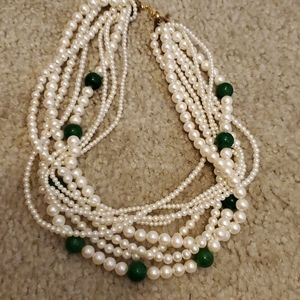 Jewelry - Pearl and green stone multilayer  choker
